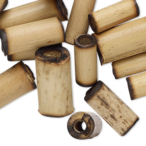 bead, bamboo (natural), 18x6mm-20x10mm round tube with 2.5-3.7mm hole. sold per pkg of 20.