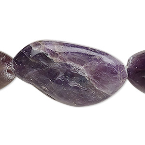 bead, banded amethyst (natural / dyed), large to extra-large tumbled nugget, mohs hardness 7. sold per 15-inch strand.