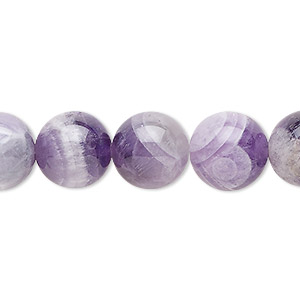bead, banded amethyst (natural), 12mm round, b grade, mohs hardness 7. sold per 16-inch strand.
