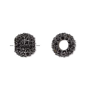 bead, beadelle galaxy collection, crystal and gunmetal-plated pewter (zinc-based alloy), black, 12x10mm rondelle with 5mm hole. sold individually.