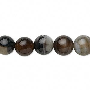 bead, black agate (dyed), 10mm round, c grade, mohs hardness 6-1/2 to 7. sold per 15-inch strand.