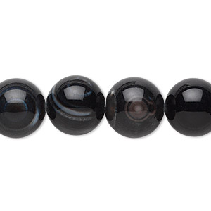 bead, black agate (dyed), 12mm round, b grade, mohs hardness 6-1/2 to 7. sold per 16-inch strand.