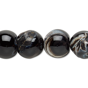 bead, black agate (dyed), 13-14mm uneven round, d- grade, mohs hardness 6-1/2 to 7. sold per 15-inch strand.