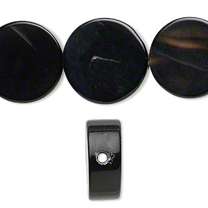 bead, black agate (dyed), 19mm flat round, b grade, mohs hardness 6-1/2 to 7. sold per 16-inch strand.