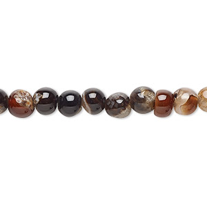 bead, black and brown agate (dyed), 5-6mm round, d grade, mohs hardness 6-1/2 to 7. sold per 15-inch strand.