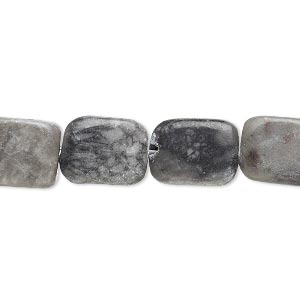 bead, black and grey marble (natural), 13x10mm-15x11mm flat rounded rectangle, c- grade, mohs hardness 3. sold per 15-inch strand.