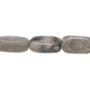 bead, black and grey marble (natural), 14x7mm-18x9mm rounded square tube, c- grade, mohs hardness 3. sold per 15-inch strand.