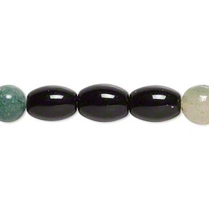bead, black obsidian and malaysia jade (natural / dyed), multicolored, 7-8mm round and 11x7mm-11x8mm barrel, b- grade, mohs hardness 5 to 7. sold per 15-inch strand.