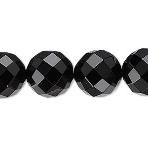 bead, black onyx (dyed), 14mm faceted round, b grade, mohs hardness 6-1/2 to 7. sold per 16-inch strand.