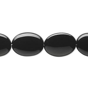 bead, black onyx (dyed), 16x12mm puffed oval, b grade, mohs hardness 6-1/2 to 7. sold per 16-inch strand.