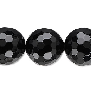 bead, black onyx (dyed), 18mm faceted round, b grade, mohs hardness 6-1/2 to 7. sold per 16-inch strand.