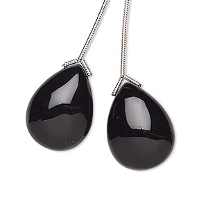 bead, black onyx (dyed), 20x15mm hand-cut top-drilled teardrop, b grade, mohs hardness 6-1/2 to 7. sold per pkg of 2 beads.