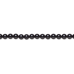 bead, black onyx (dyed), 3mm round, a- grade, mohs hardness 6-1/2 to 7. sold per 16-inch strand.
