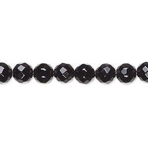 bead, black onyx (dyed), 6mm faceted round, a- grade, mohs hardness 6-1/2 to 7. sold per 16-inch strand.