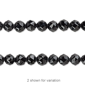 bead, black onyx (dyed), 6mm rose-cut round with 0.5-1.5mm hole, b grade, mohs hardness 6-1/2 to 7. sold per 8-inch strand, approximately 30 beads.
