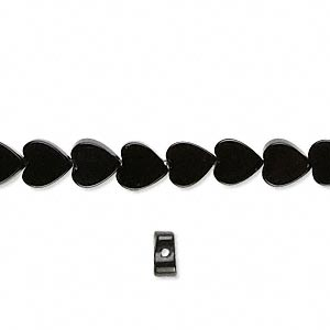 bead, black onyx (dyed), 6x5mm heart, b grade, mohs hardness 6-1/2 to 7. sold per 16-inch strand.