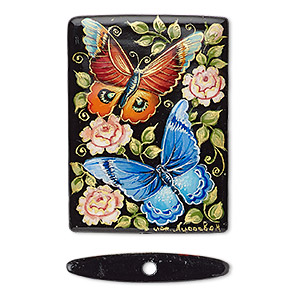 bead, black onyx (dyed), black and multicolored, 40x30mm single-sided puffed rectangle with hand-painted butterflies / flowers / leaves design, mohs hardness 6-1/2 to 7. sold individually.