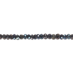 bead, black spinel (coated), blue iris, 3x2mm-4x3mm hand-cut faceted rondelle, c grade, mohs hardness 8. sold per 13-inch strand.