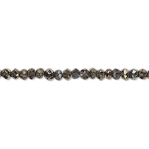 bead, black spinel, (coated), copper, 3x2mm-4x3mm hand-cut faceted rondelle, c grade, mohs hardness 8. sold per 13-inch strand.