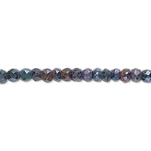 bead, black spinel, (coated), iris blue, 4x3mm-5x4mm hand-cut faceted rondelle, c grade, mohs hardness 8. sold per 13-inch strand.