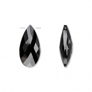 bead, black spinel (natural), 20x10mm hand-cut top-drilled faceted puffed teardrop, b grade, mohs hardness 8. sold per pkg of 2.