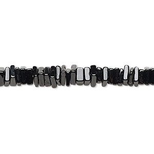 bead, black spinel (natural), 4x1mm-6x2mm hand-cut square rondelle, b grade, mohs hardness 8. sold per 8-inch strand, approximately 95-150 beads.
