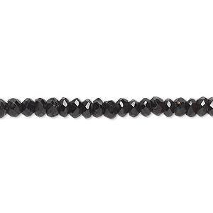 bead, black spinel (natural), 4x2mm-5x3mm hand-cut faceted rondelle, b- grade, mohs hardness 8. sold per 13-inch strand.