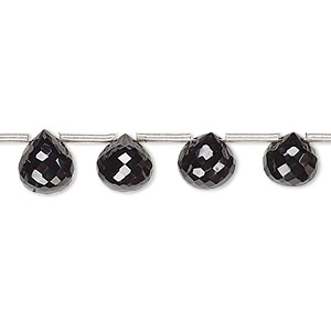 bead, black spinel (natural), 7mm-10x9mm graduated hand-cut top-drilled faceted teardrop, b grade, mohs hardness 8. sold per 8-inch strand, approximately 15 beads.