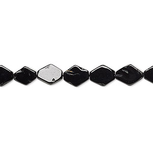 bead, black spinel (natural), 7x6mm-8x7mm hand-cut flat diamond, c- grade, mohs hardness 8. sold per 13-inch strand.