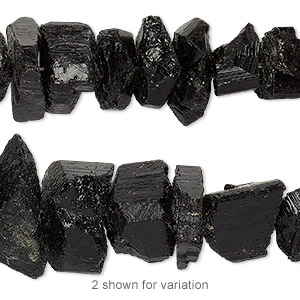 bead, black tourmaline (natural), medium to large graduated rough slice with 0.5-1.5mm hole, mohs hardness 7 to 7-1/2. sold per 16-inch strand.