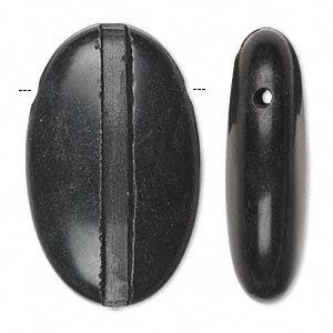 bead, blackstone (natural), 40x25mm hand-cut top-drilled single-sided puffed oval with 3.5mm wide channel, c grade, mohs hardness 6-1/2 to 7. sold individually.
