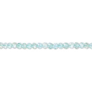 bead, blue apatite (natural), 3x2mm faceted rondelle with 0.5-1.5mm hole, a- grade, mohs hardness 5. sold per 16-inch strand.