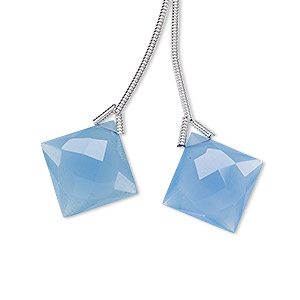 bead, blue chalcedony (dyed), 16x16mm hand-cut top-drilled faceted puffed diamond, b grade, mohs hardness 7. sold per pkg of 2 beads.