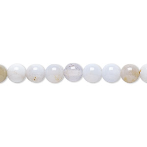 bead, blue chalcedony (natural), 6mm round, c grade, mohs hardness 7. sold per 16-inch strand.