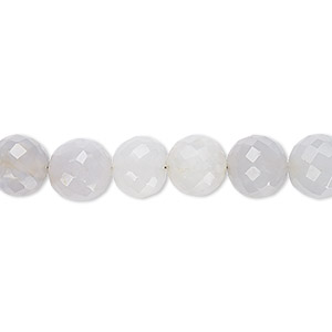 bead, blue chalcedony (natural), 8-9mm hand-cut faceted round, b- grade, mohs hardness 6-1/2 to 7. sold per 7-inch strand.