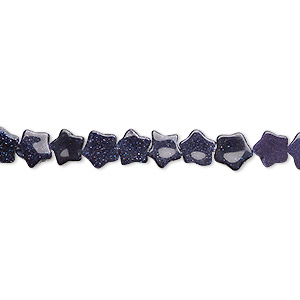 bead, blue goldstone (man-made), 6x6mm flat star. sold per 16-inch strand.