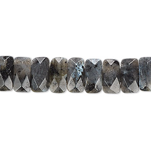bead, blue labradorite (natural), 9x5mm-10x6mm double-drilled faceted rectangle with 0.5-1.5mm holes, b grade, mohs hardness 6 to 6-1/2. sold per 8-inch strand, approximately 35 beads.