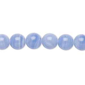 bead, blue lace agate (imitation), blue and white, 8mm round. sold per 16-inch strand.