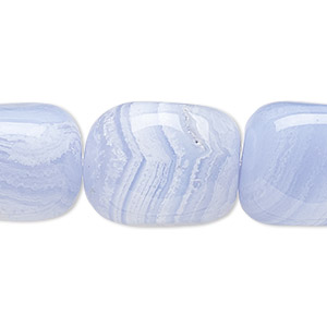 bead, blue lace agate (natural), large tumbled nugget, mohs hardness 6-1/2 to 7. sold per 16-inch strand.