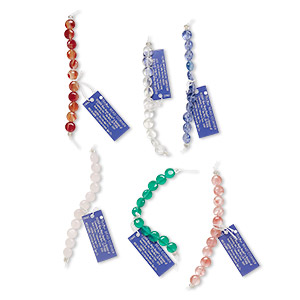 bead, blue moon beads, glass, assorted colors, 8mm flat round. sold per pkg of (6) 11-piece sets.