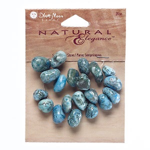 bead, blue moon beads, moss agate (dyed), turquoise blue, medium to extra-large top-drilled pebble. sold per pkg of 20.