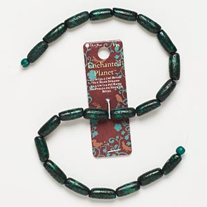 bead, blue moon beads, nut (dyed / coated), dark green, 17x7mm round tube, 14 inches. sold individually.