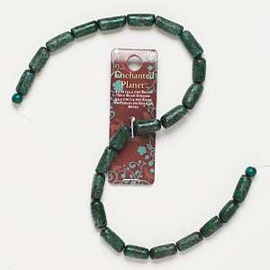 bead, blue moon beads, nut (dyed / coated), teal green, 14x7mm-18x9mm round tube. sold per 14-inch strand.