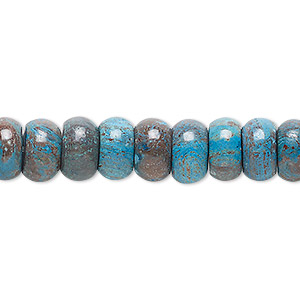 bead, blue sky jasper (dyed / stabilized), 10x6mm rondelle, c grade, mohs hardness 6-1/2 to 7. sold per 16-inch strand.