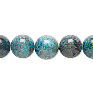 bead, blue sky jasper (dyed / stabilized), 12mm round, c grade, mohs hardness 6-1/2 to 7. sold per 16-inch strand.