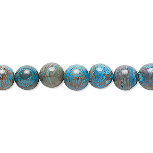 bead, blue sky jasper (dyed / stabilized), 8mm round, c grade, mohs hardness 6-1/2 to 7. sold per 16-inch strand.