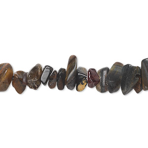 bead, blue tigereye (natural), medium chip, mohs hardness 7. sold per 15-inch strand.