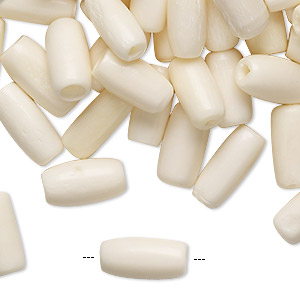 bead, bone (bleached), white, 13x6mm-14x7mm round tube, mohs hardness 2-1/2. sold per pkg of 100.