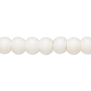 bead, bone (bleached), white, 8mm round, mohs hardness 2-1/2. sold per 16-inch strand.