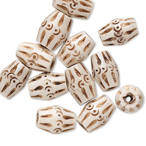 bead, bone (dyed), antiqued, 15x11mm carved barrel. sold per pkg of 12.
